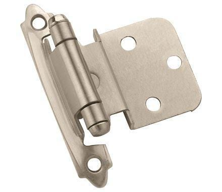 "Self-Closing Face Mount 3/8"" Inch Inset Cabinet Hinges - Multiple Finishes - 2 Pack"
