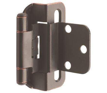 "Self-Closing, Partial Wrap 3/8"" Inch Inset Cabinet Hinges - 2 1/4"" x 1 7/8"" - Multiple Finishes - 2 Pack"