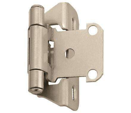 "Self-Closing, Partial Wrap 1/4"" Inch Overlay Cabinet Hinges - 2 1/4"" x 1 1/2"" - Multiple Finishes - 2 Pack"