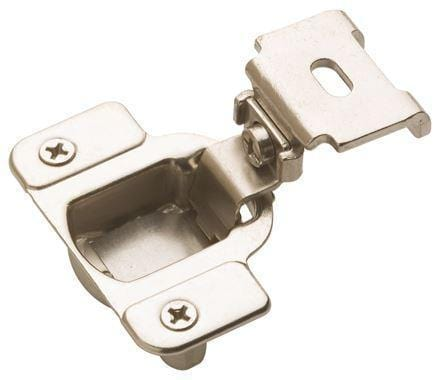 "Self Closing 1 1/4"" Inch Overlay Cabinet Hinge - Satin Nickel - 2 Pack"