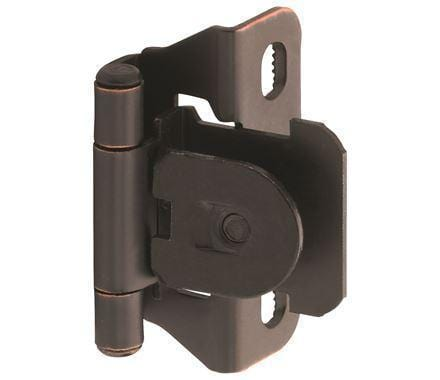 "Self-Closing Single Demountable Partial Wrap 1/4"" Inch Overlay Cabinet Hinges - 2 1/4"" x 1 1/2"" - Multiple Finishes - 2 Pack"