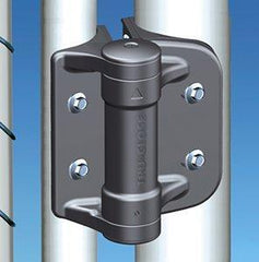 "Round Post - Adjustable Gate Spring Hinge - Black For Gate Gap (5/8"" - 1 3/8"") For Chain Link Fences - 2 Pack"