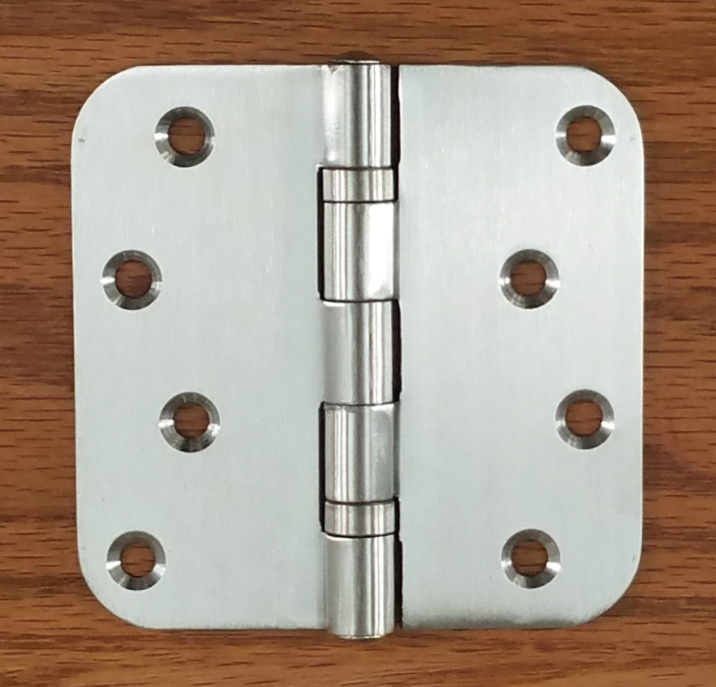 "Stainless Steel Ball Bearing Security Hinges - 4"" with 5/8"" radius corners - Non-Removable Riveted Pin - 2 Pack"
