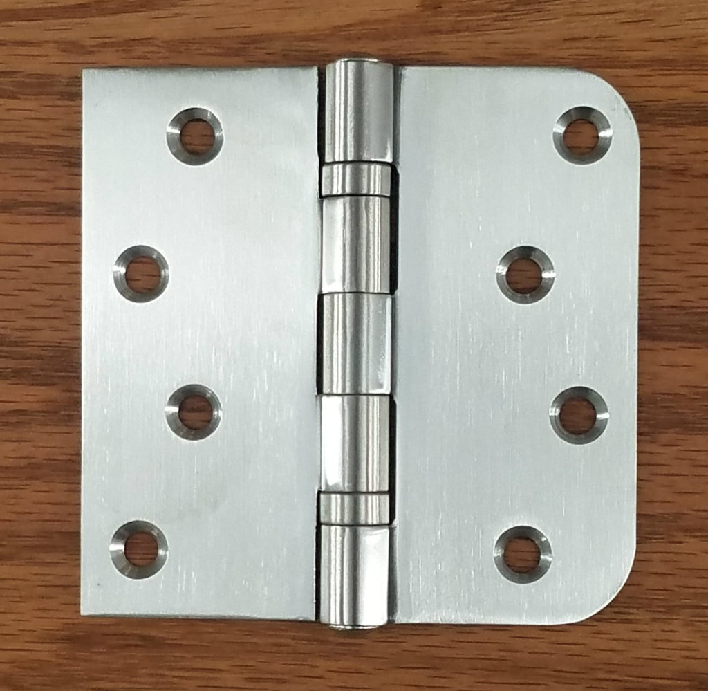 "Stainless Steel Ball Bearing Security Hinges - 4"" with 5/8"" Radius Square - Non-Removable Riveted Pin - 3 Pack"
