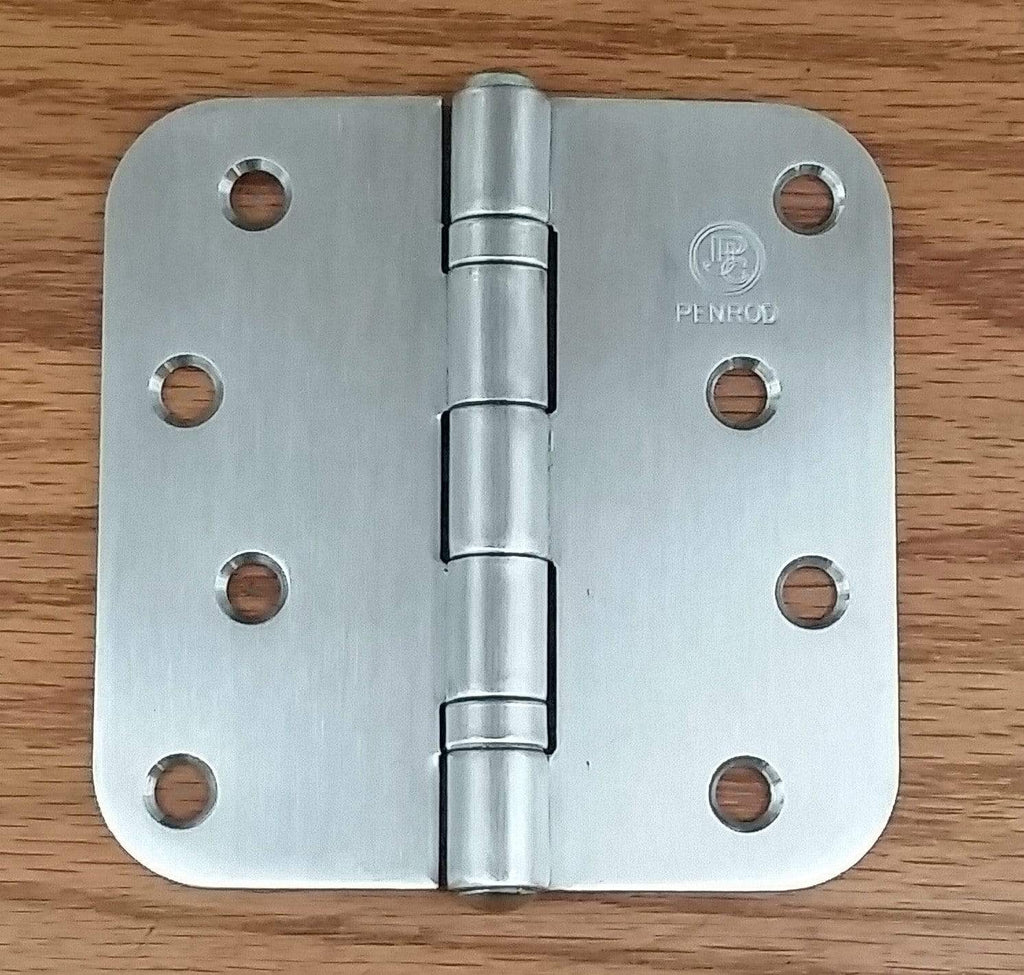 "Stainless Steel Ball Bearing Security Hinges - Penrod - 4"" with 5/8"" radius corners - Non-Removable Riveted Pin - 3 Pack"