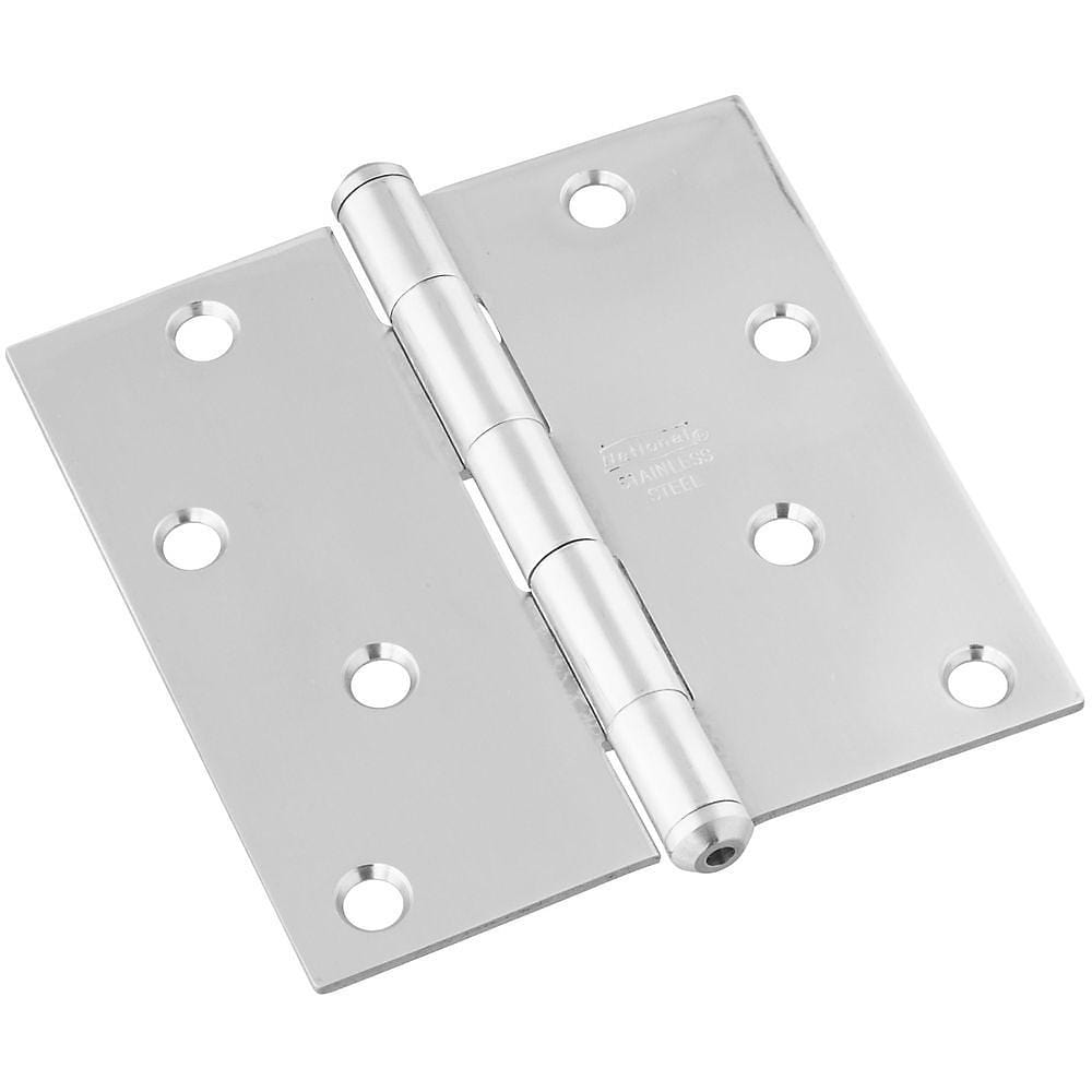 "Stainless Steel Butt Hinge - 4"" Inch Square - Rust Resistant - 1 Pack"