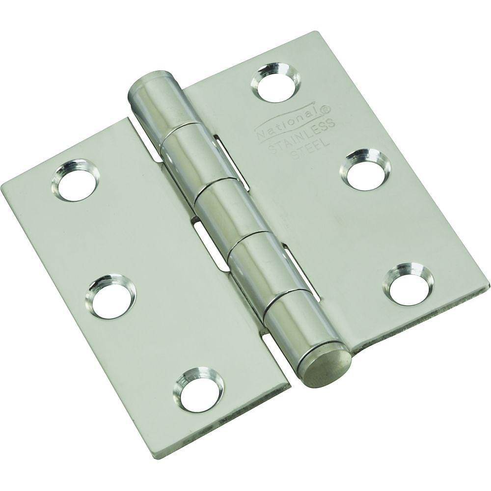 "Stainless Steel Butt Hinge - 2.5"" Inch Square - Rust Resistant - 2 Pack"
