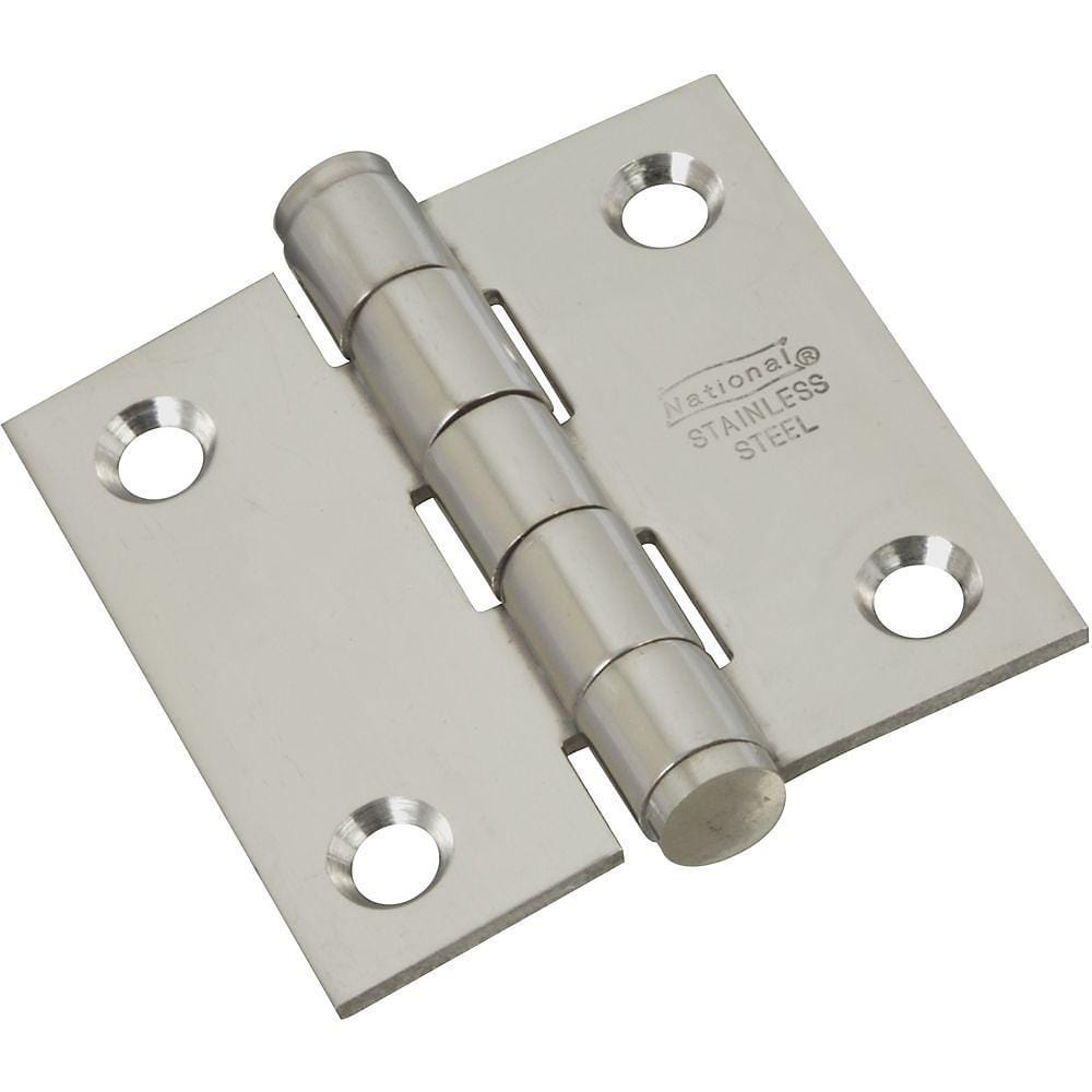 "Stainless Steel Butt Hinge - 2"" Inch Square - Rust Resistant - 2 Pack"