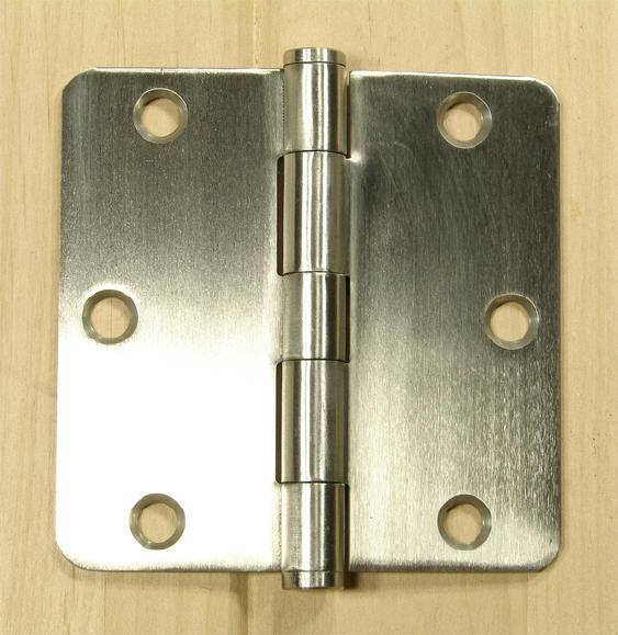 "Stainless Steel Residential Hinges - 3 1/2"" with 1/4"" Radius Corner - Plain bearing - Non Removable Pin - 2 Pack"