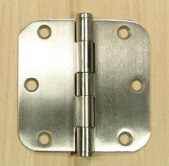 "Stainless Steel Residential Hinges - 3 1/2"" with 5/8"" Radius Corner - Plain bearing - Non Removable Pin - 2 Pack"