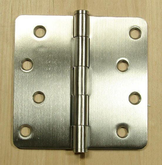 "Stainless Steel Hinges Residential Hinges- 4"" x 4"" Plain bearing with 1/4"" radius corners - Sold in Pairs"
