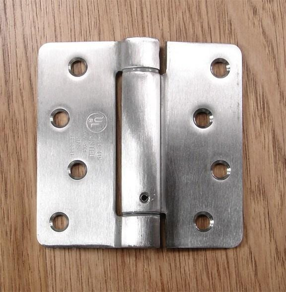 "4"" x 4"" Spring Hinges with 1/4"" radius corners Stainless Steel - Sold in Pairs - Residential Spring Hinges"
