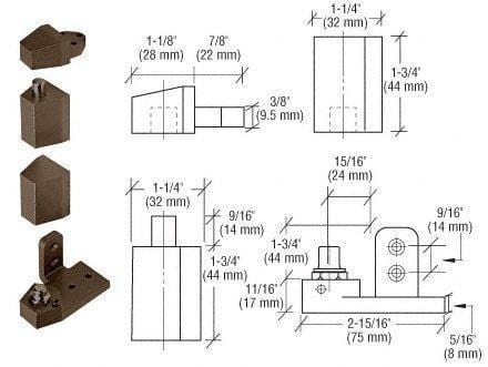 "Pivot Door Hinges Old Castle Style - Offset for Metal Frame Doors - 1/8"" Recessed or Face Frame Applications"