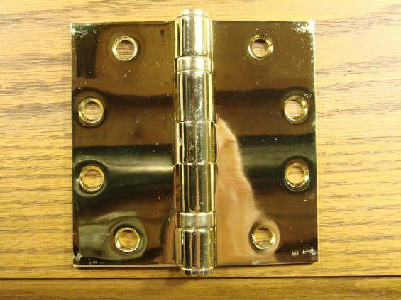 "4 1/2"" x 4 1/2"" with square corners Bright Brass Commercial Ball Bearing Hinge - Sold in Pairs - Commercial Ball Bearing Hinges"