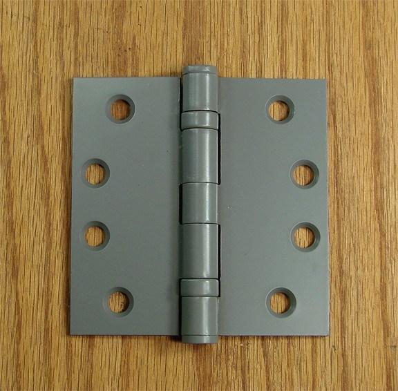 "4 1/2"" x 4 1/2"" with square corners Gray Prime Commercial Grade Ball Bearing Hinges - Sold in Pairs - Commercial Ball Bearing Hinges"