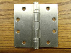 "4 1/2"" x 4 1/2"" with square corners Satin Nickel Commercial Ball Bearing Hinge- Sold in Pairs - Commercial Ball Bearing Hinges"