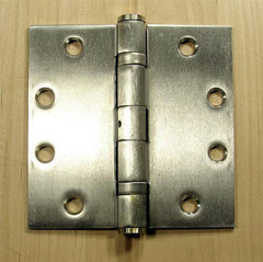 "Stainless Steel Commercial Ball Bearing Door Hinges - 4 1/2"" Inches Square - 2 Pack"