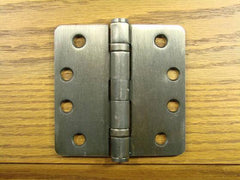 "4"" x 4"" with 1/4"" radius corners Antique Brass Commercial Ball Bearing Hinge - Sold in Pairs - Commercial Ball Bearing Hinges"