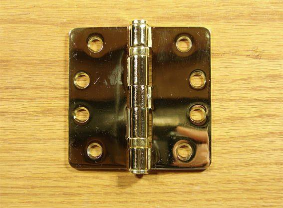"4"" x 4"" with 1/4"" radius corners Bright Brass Commercial Ball Bearing Hinge - Sold in Pairs - Commercial Ball Bearing Hinges"