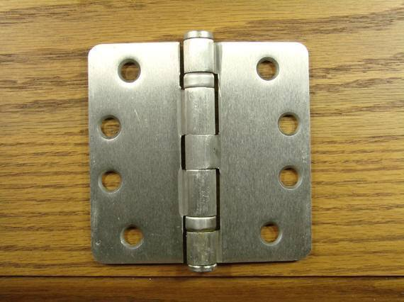 "4"" x 4"" with 1/4"" radius corners Satin Nickel Commercial Ball Bearing Hinges - Sold in Pairs - Commercial Ball Bearing Hinges"