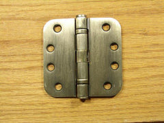 "4"" x 4"" with 5/8"" radius corners Antique Brass Commercial Ball Bearing Hinges - Sold in Pairs - Commercial Ball Bearing Hinges"
