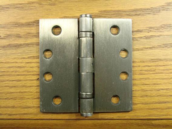 "4"" x 4"" with Square Corners Antique Brass Commercial Ball Bearing Hinge - Sold in Pairs"