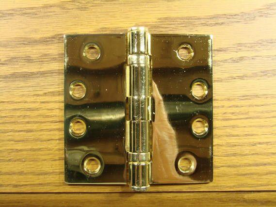 "4"" x 4"" with Square Corners Bright Brass Commercial Ball Bearing Hinge - Sold in Pairs - Commercial Ball Bearing Hinges"