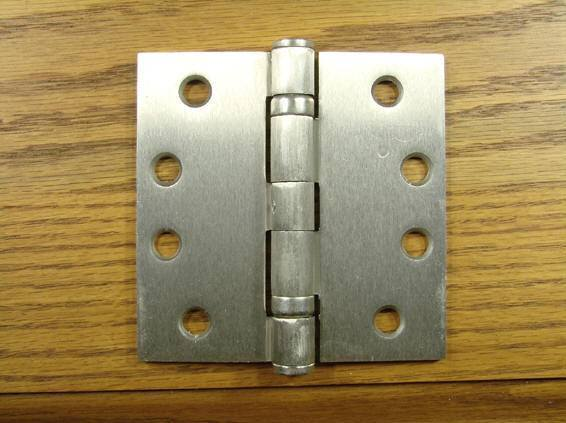 "4"" x 4"" with Square Corners Satin Nickel Commercial Ball Bearing Hinge - Sold in Pairs - Commercial Ball Bearing Hinges"