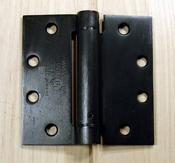 "Commercial Spring Hinges - Oil Rubbed Bronze - 4 1/2"" x 4 1/2"" with square corner - Sold in Pairs"