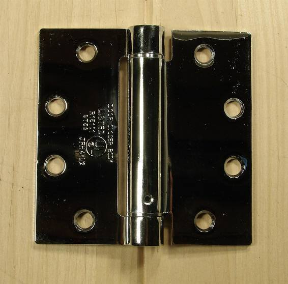 "Commercial Spring Hinges - Polished Chrome - 4 1/2"" x 4 1/2"" with square corner - Sold in Pairs"