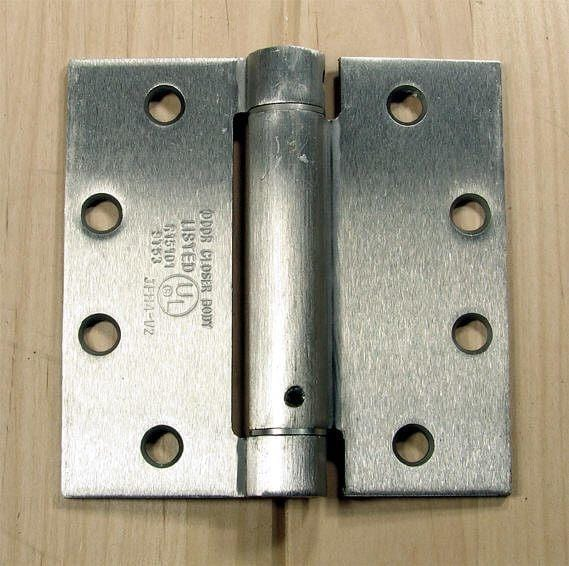 "Commercial Spring Hinges - Satin Chrome - 4 1/2"" x 4 1/2"" with square corner - Sold in Pairs"