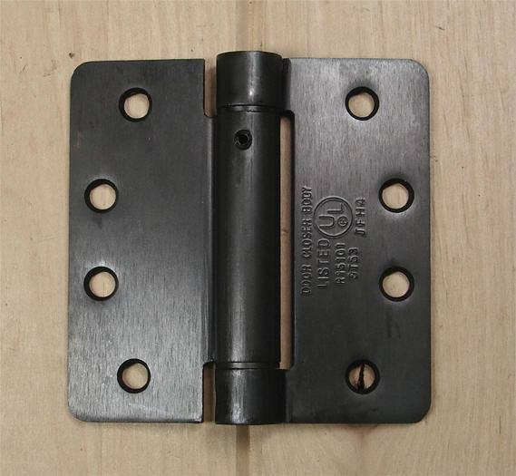 "4"" x 4"" Spring Hinges with 1/4"" radius corners and Template hole pattern - Multiple Finishes - Sold in Pairs"