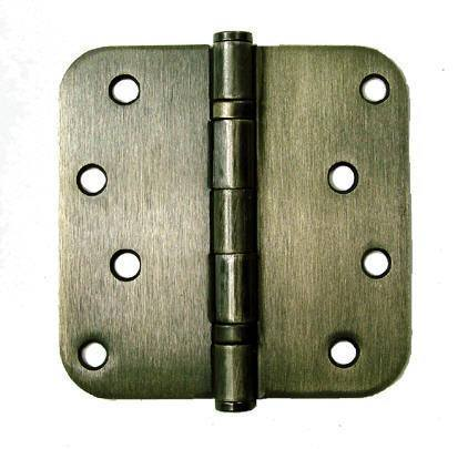 "4"" Inch with 5/8"" Inch radius Antique Brass Ball Bearing Door Hinges - 2 Pack"