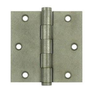 "3 1/2"" x 3 1/2"" with Square Corners Plain Bearing Brass Hinges - Multiple Distressed Finishes - Sold in Pairs"