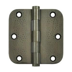 "3.5"" x 3.5"" w 5/8"" Radius Corner Plain Bearing Brass Hinges - Multiple Distressed Finishes - Sold in Pairs"