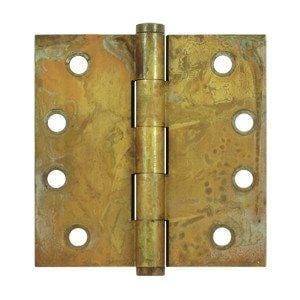 "4.5"" x 4.5"" Square Corner Plain Bearing Brass Hinges - Multiple Distressed Finishes - Sold in Pairs"