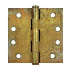 "4.5"" x 4.5"" Square Corner Plain Bearing Brass Hinges - Multiple Distressed Finishes - Sold in Pairs - Plain Bearing Solid Brass Hinges Rust - 1"