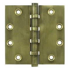 "4"" x 4"" Square Corner Plain Bearing Brass Hinges - Multiple Distressed Finishes - Sold in Pairs - Plain Bearing Solid Brass Hinges Bronze Medium - 1"