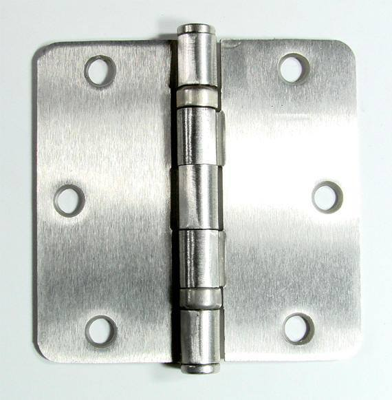 "3 1/2"" x 3 1/2""  with 1/4"" Radius Corner Residential Ball Bearing Hinges - Multiple Finishes - Sold in Pairs - Residential Ball Bearing Hinges Satin Nickel - 1"