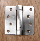 "4"" x 4"" Spring Hinges with 1/4"" radius corners - Multiple Finishes Available - Sold in Pairs - Residential Spring Hinges Stainless Steel - 3"