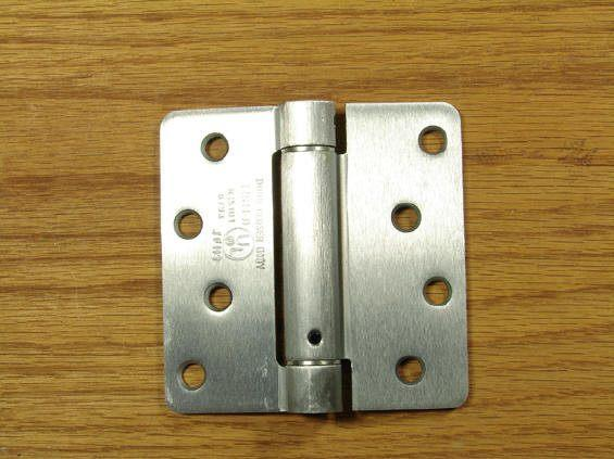 "4"" x 4"" Spring Hinges with 1/4"" radius corners Satin Chrome - Sold in Pairs"