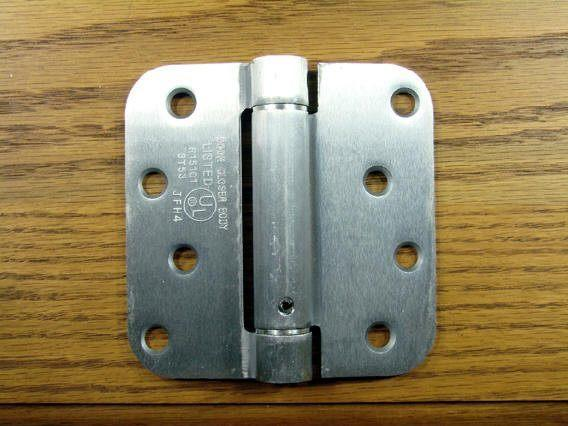 "4"" x 4"" Spring Hinges with 5/8"" radius corner Satin Chrome - Sold in Pairs"