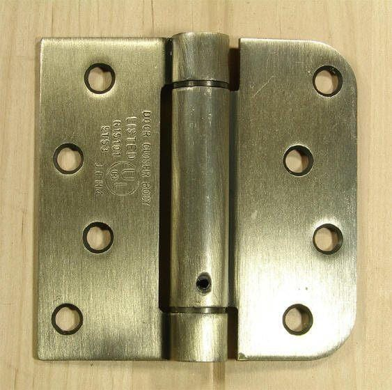 "4"" x 4"" Spring Hinges with square and 5/8"" radius corner Antique Brass finish - Sold in Pairs"