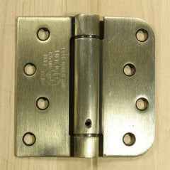 "4"" x 4"" Spring Hinges with square and 5/8"" radius corner Antique Brass finish - Sold in Pairs - Residential Spring Hinges"