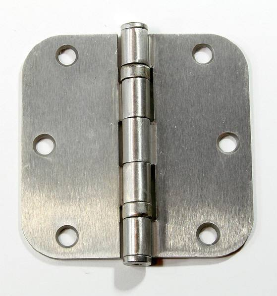 "3 1/2"" x 3 1/2"" with 5/8"" radius Residential Ball Bearing Hinges - Multiple Finishes - Sold in Pairs -  Satin Nickel - 1"
