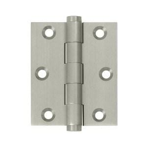 "Solid Brass Screen Door Hinges Satin Nickel Finish - 3"" x 2.5"" - 2 Pack"