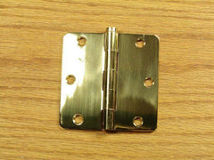 "Polished Brass Finish Hinges Solid Brass 3 1/2"" x 3 1/2"" with 1/4"" radius corners - Sold in Pairs - Solid Brass Hinges"