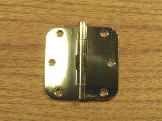 "Polished Brass Finish Hinges Solid Brass 3 1/2"" x 3 1/2"" with 5/8"" radius corners - Sold in Pairs - Solid Brass Hinges"