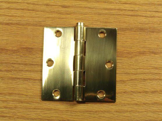 "Polished Brass Finish Hinges Solid Brass 3 1/2"" x 3 1/2""  with Square Corners - Sold in Pairs"
