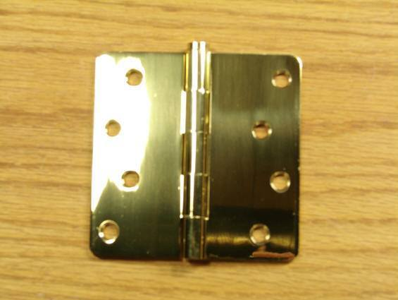 "Polished Brass Finish Hinges Solid Brass 4"" x 4"" with 1/4"" radius corners - Sold in Pairs - Solid Brass Hinges"